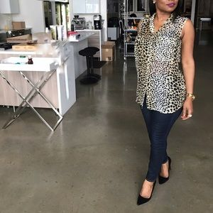 Equipment Leopard Sleeveless Blouse